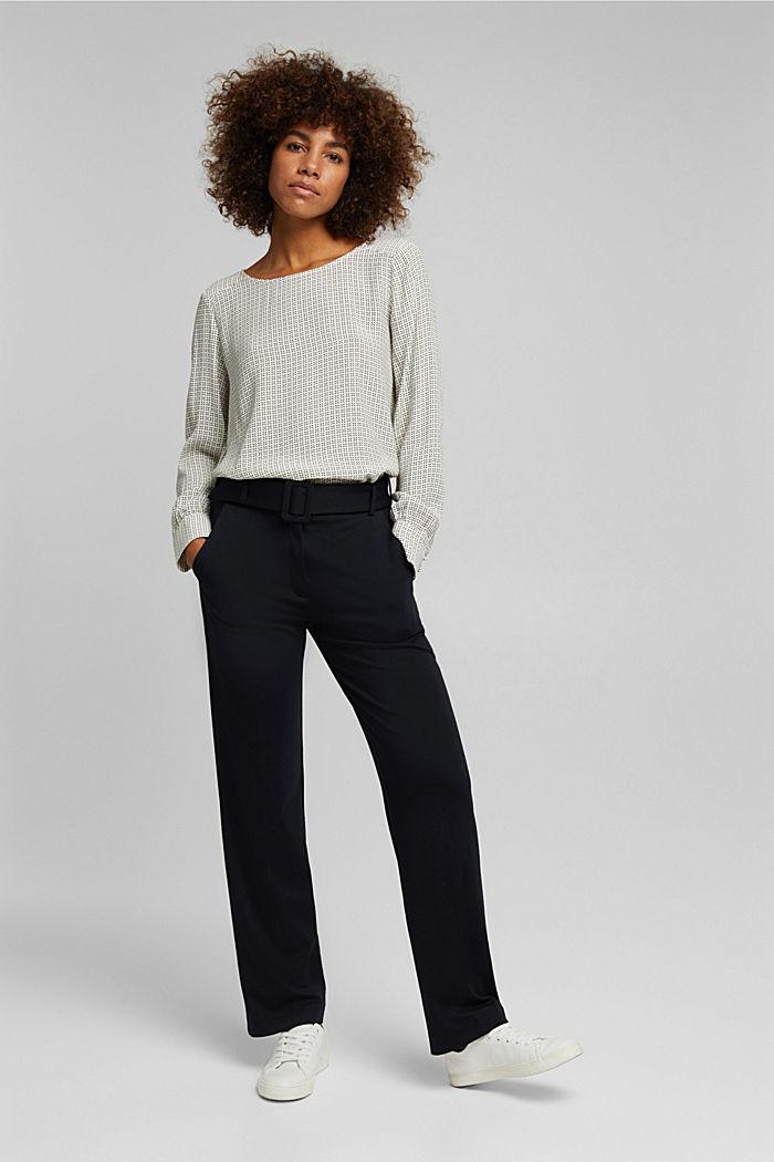 Minimal print blouse, OFF WHITE, detail image number 5