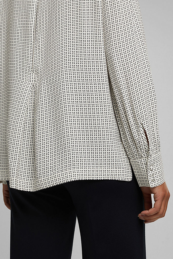 Minimal print blouse, OFF WHITE, detail image number 2