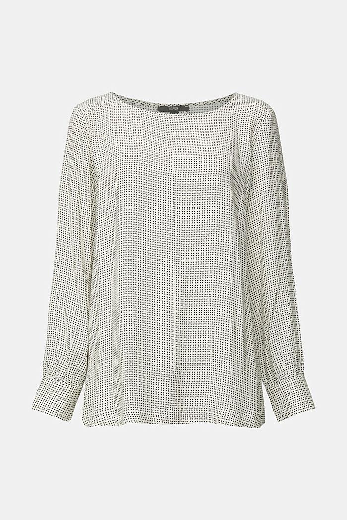Minimal print blouse, OFF WHITE, detail image number 6