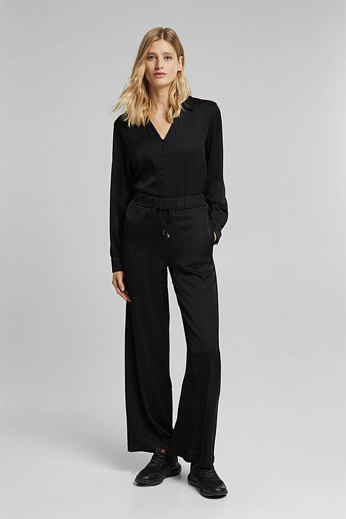 Satin-effect blouse, BLACK, detail image number 6