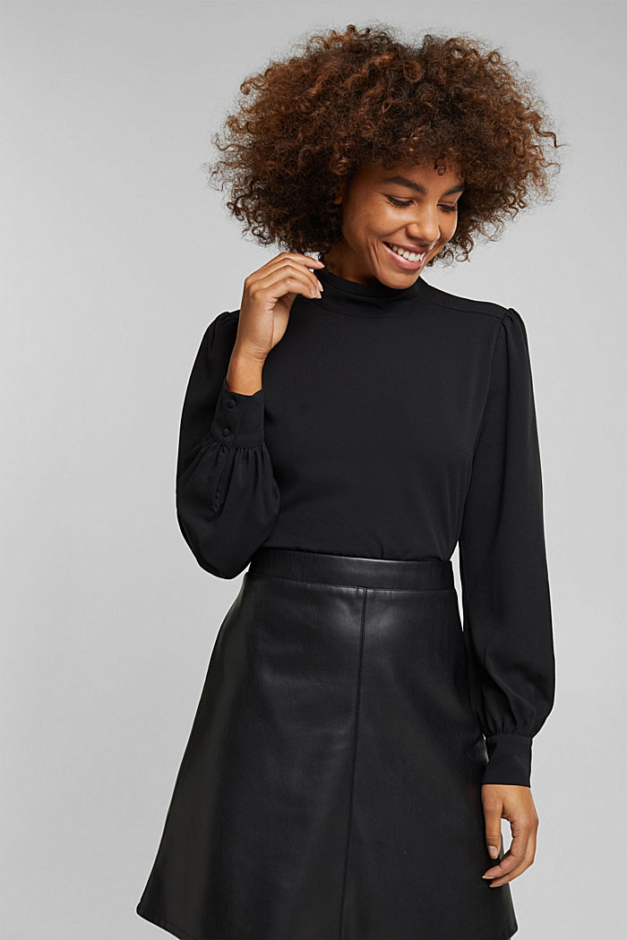 Recycled: Crêpe blouse with a stand-up collar, BLACK, detail image number 0