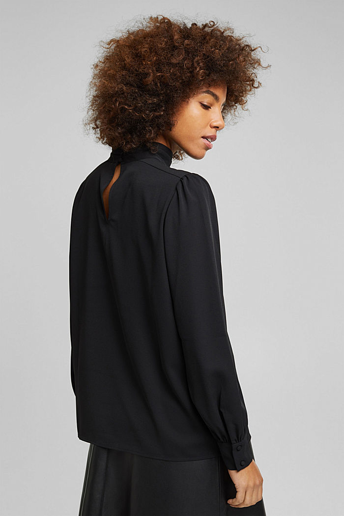 Recycled: Crêpe blouse with a stand-up collar, BLACK, detail image number 3