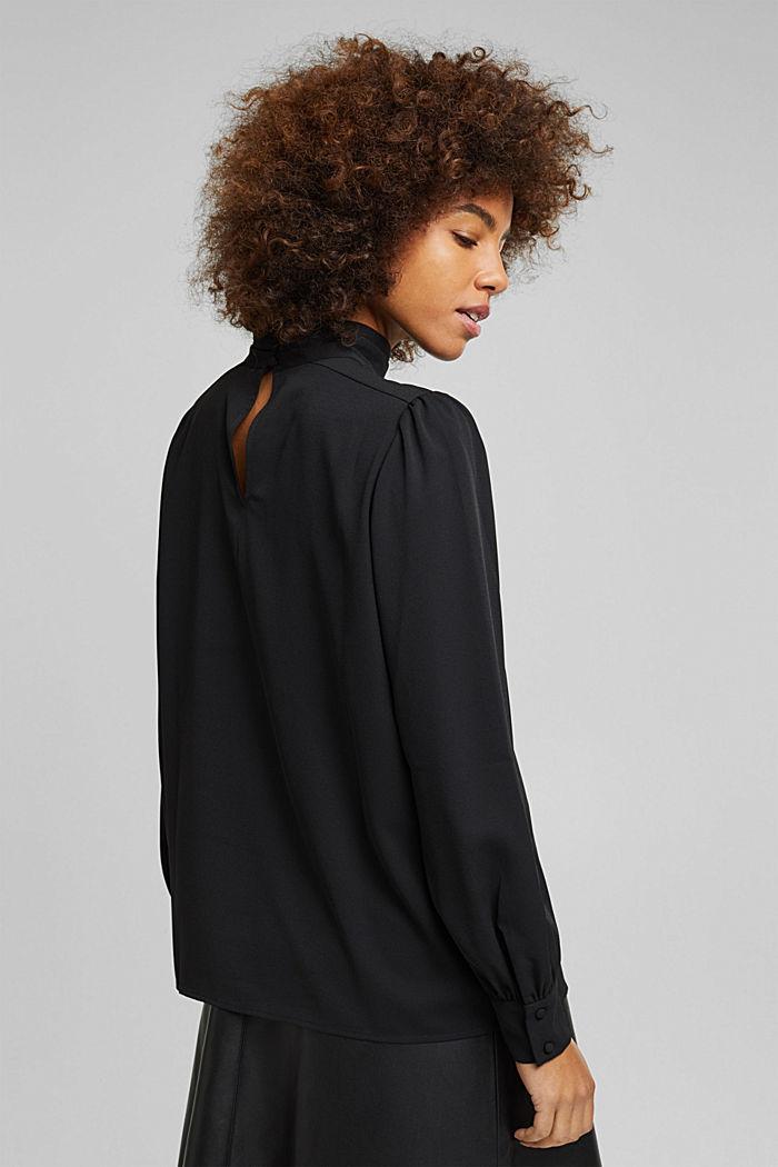 Reciclada: blusa de crepé con cuello alto, BLACK, detail image number 3