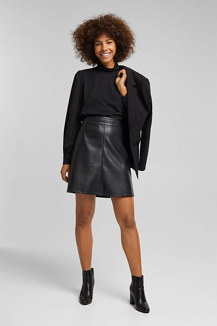 Recycled: Crêpe blouse with a stand-up collar, BLACK, detail image number 1