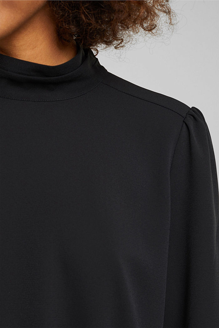 Recycled: Crêpe blouse with a stand-up collar, BLACK, detail image number 2