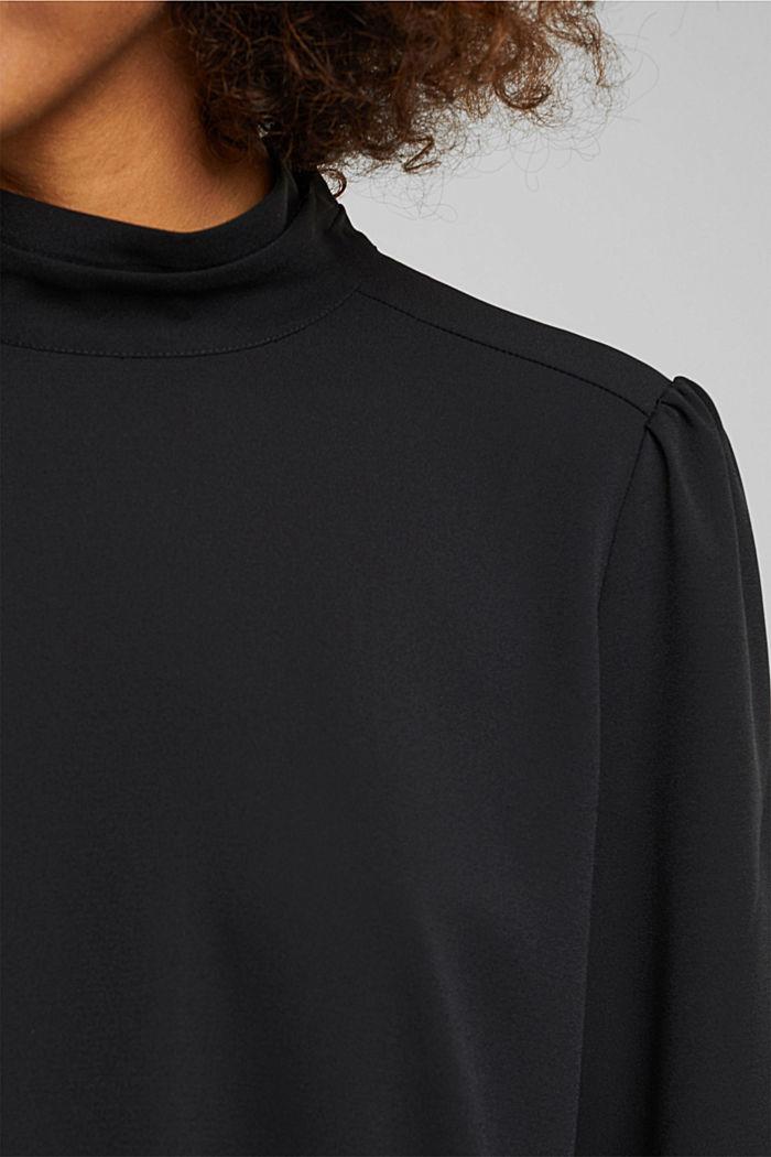 Reciclada: blusa de crepé con cuello alto, BLACK, detail image number 2