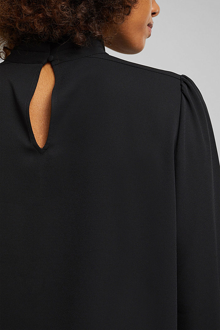 Recycled: Crêpe blouse with a stand-up collar, BLACK, detail image number 5
