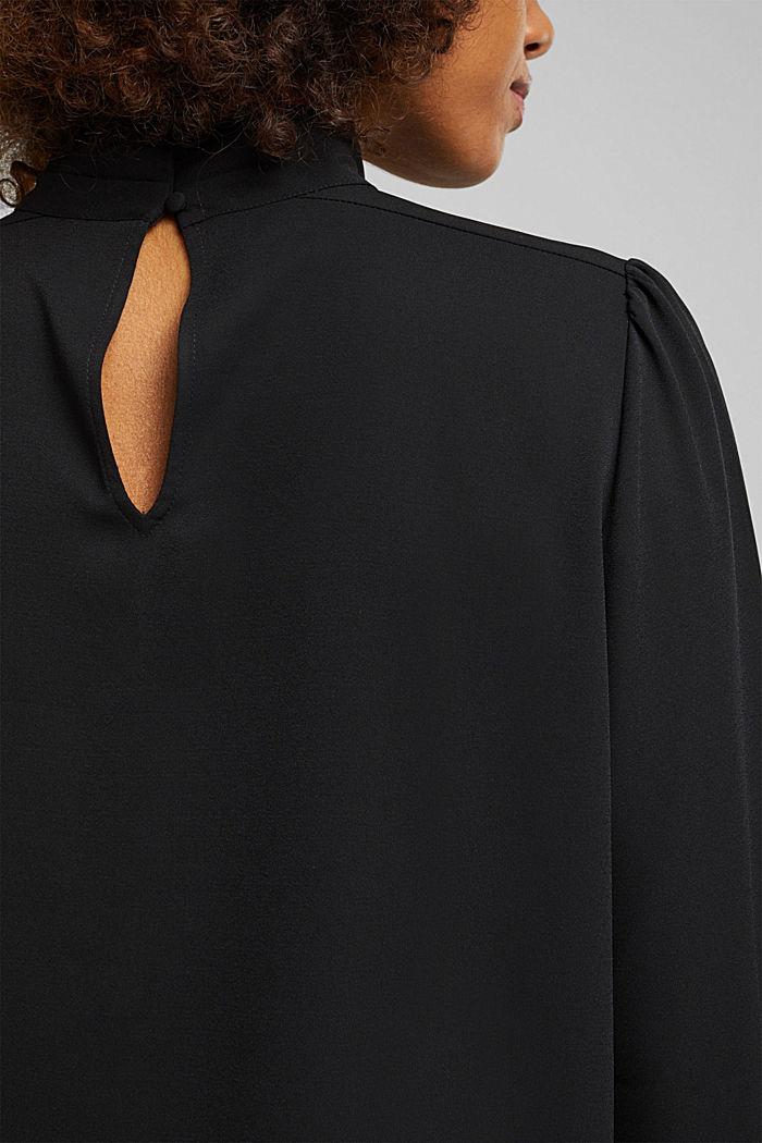 Reciclada: blusa de crepé con cuello alto, BLACK, detail image number 5