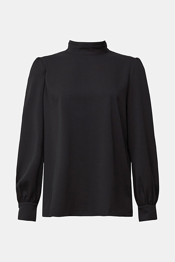 Recycled: Crêpe blouse with a stand-up collar, BLACK, detail image number 7