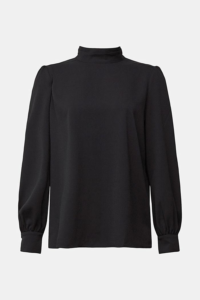 Reciclada: blusa de crepé con cuello alto, BLACK, detail image number 7