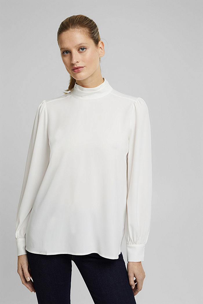 Recycled: Crêpe blouse with a stand-up collar, OFF WHITE, detail image number 0