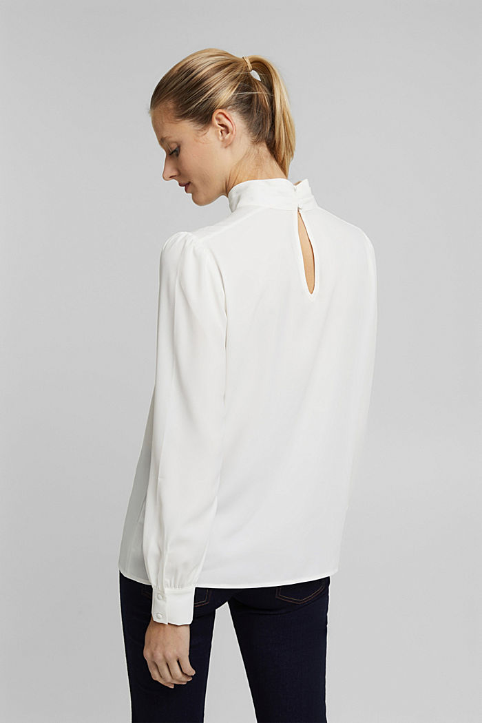 Recycled: Crêpe blouse with a stand-up collar, OFF WHITE, detail image number 3