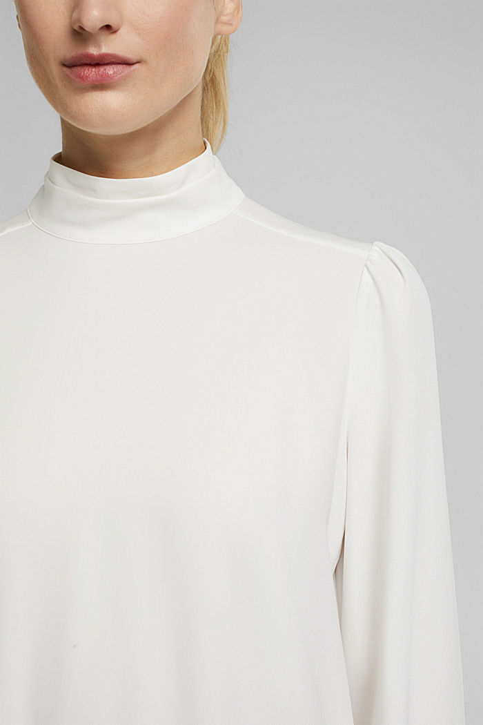Recycled: Crêpe blouse with a stand-up collar, OFF WHITE, detail image number 2