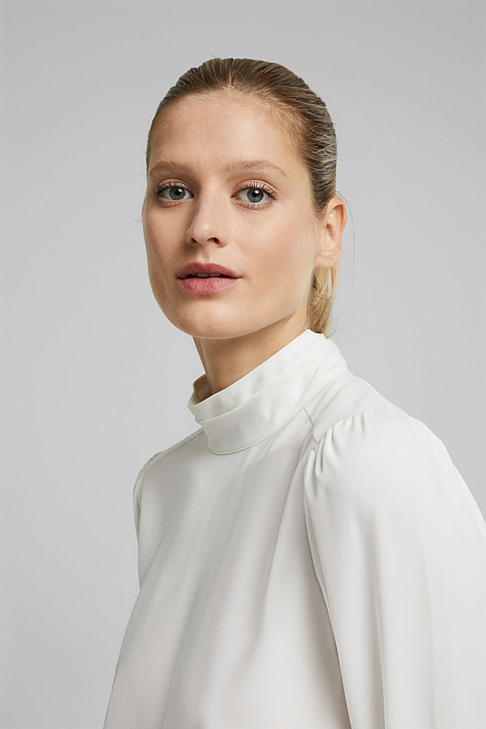 Recycled: Crêpe blouse with a stand-up collar, OFF WHITE, detail image number 5