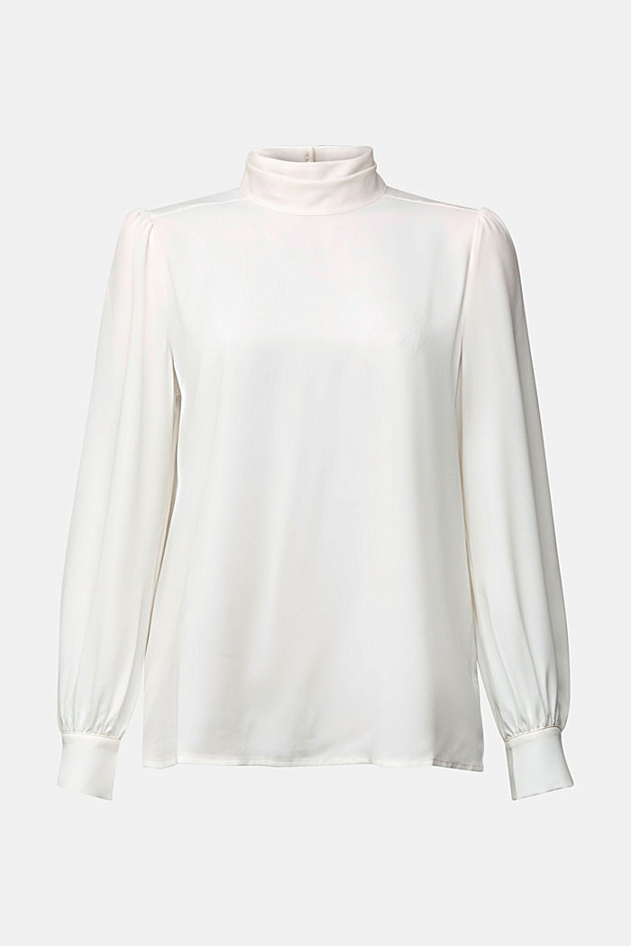 Recycled: Crêpe blouse with a stand-up collar, OFF WHITE, detail image number 7