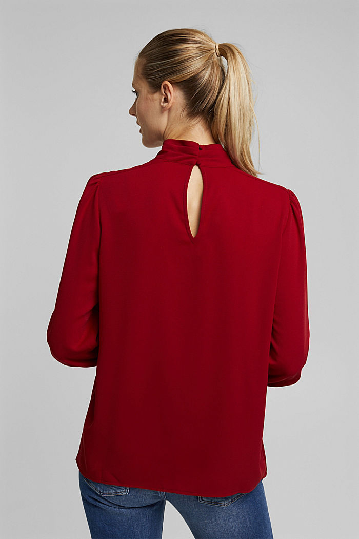 Recycled: Crêpe blouse with a stand-up collar, DARK RED, detail image number 3