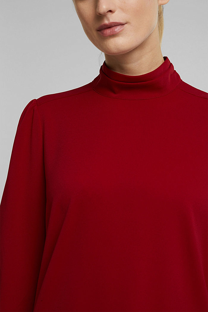 Recycled: Crêpe blouse with a stand-up collar