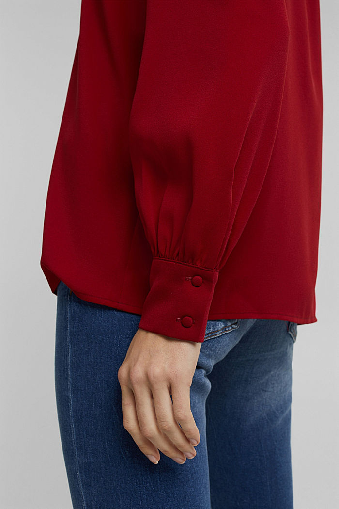 Recycled: Crêpe blouse with a stand-up collar, DARK RED, detail image number 5