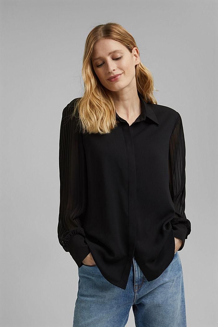 Reciclada: blusa camisera con plisado, BLACK, detail image number 0