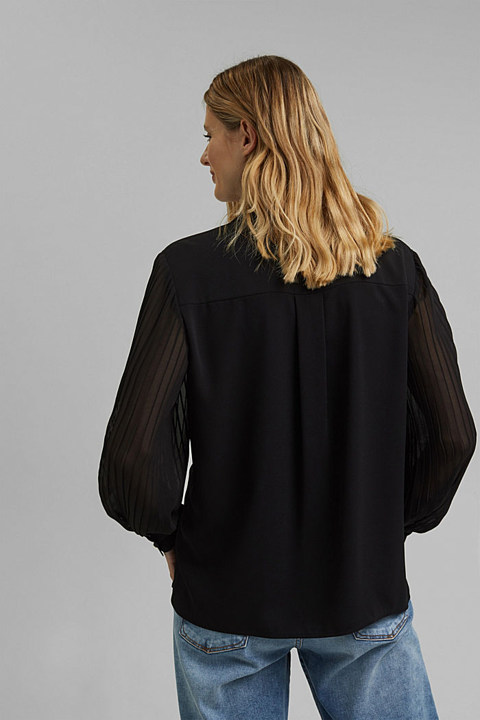 Gerecycled: overhemdblouse met plooien, BLACK, detail image number 3