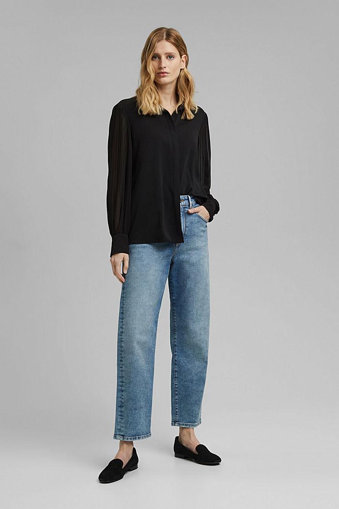 Reciclada: blusa camisera con plisado, BLACK, detail image number 1