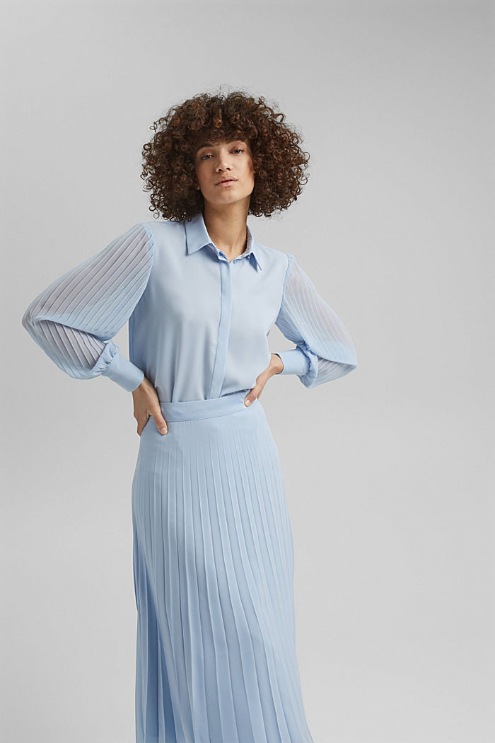 Recycled: pleat detail blouse, PASTEL BLUE, detail image number 0