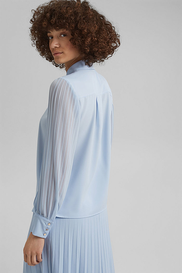 Recycled: pleat detail blouse, PASTEL BLUE, detail image number 3
