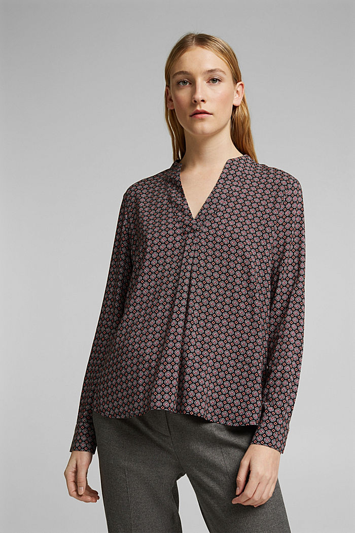 Tunic blouse with print, BLACK, detail image number 0
