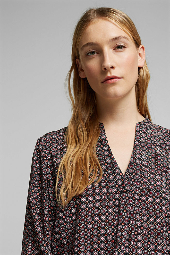 Tunic blouse with print, BLACK, detail image number 5