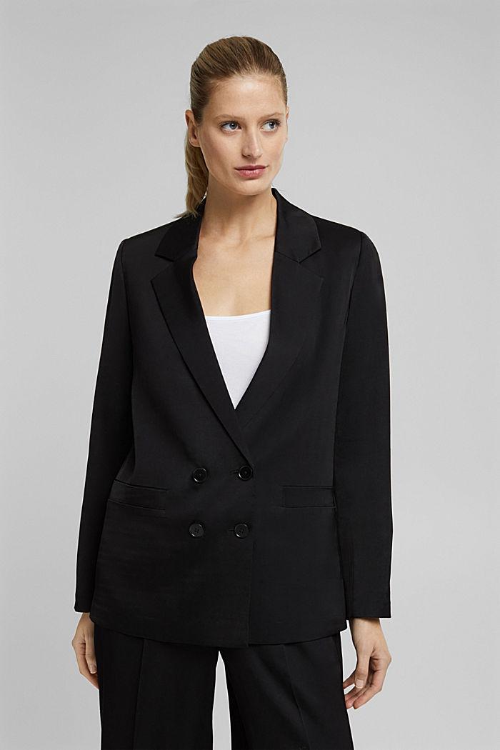SATIN mix + match blazer, BLACK, detail image number 0