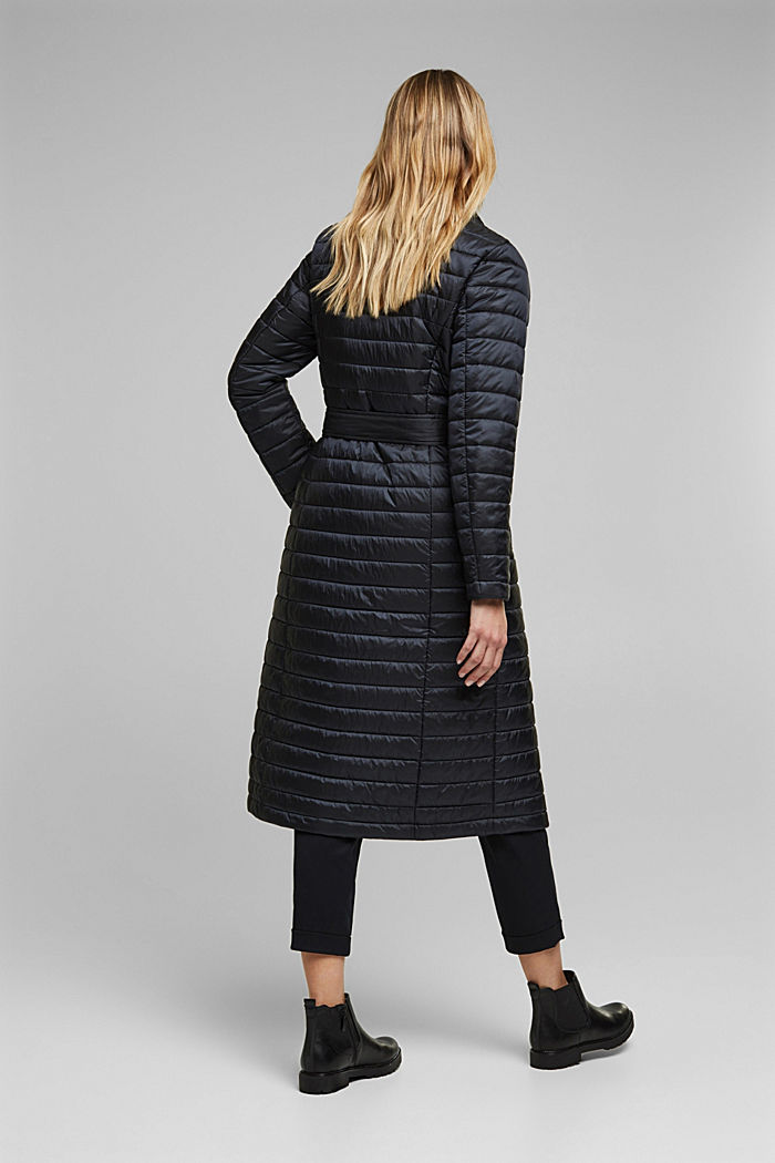 Recycled: Quilted coat with tie-around belt, BLACK, detail image number 3