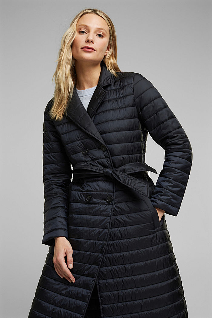 Recycled: Quilted coat with tie-around belt, BLACK, detail image number 6