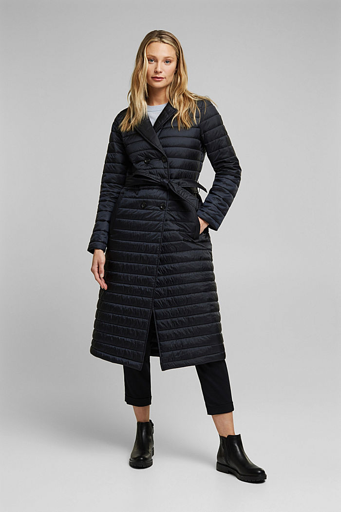 Recycled: Quilted coat with tie-around belt, BLACK, detail image number 1