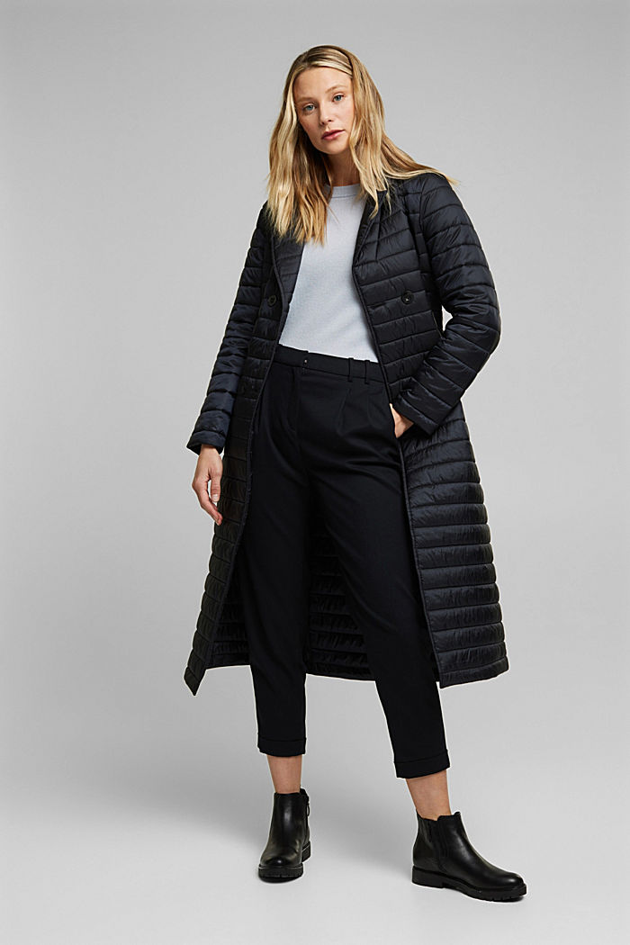 Recycled: Quilted coat with tie-around belt, BLACK, detail image number 7