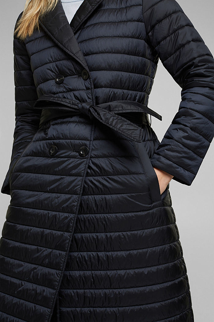 Recycled: Quilted coat with tie-around belt, BLACK, detail image number 2