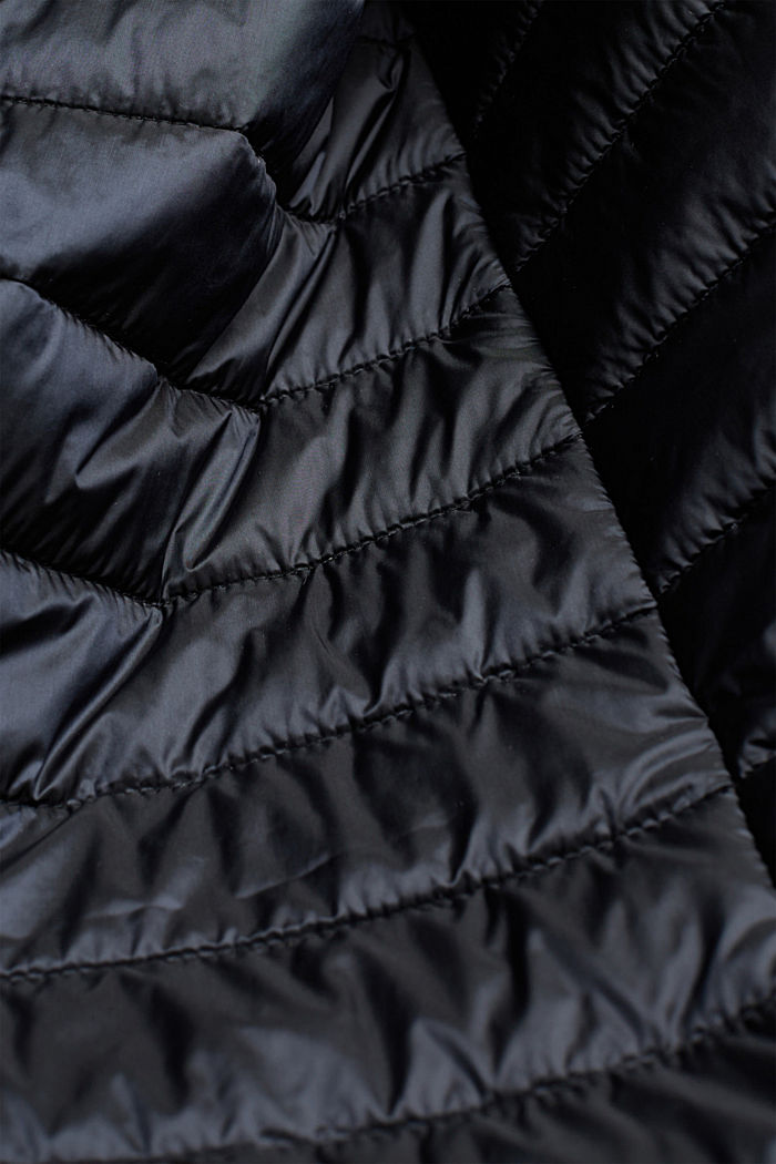 Recycled: Quilted coat with tie-around belt, BLACK, detail image number 4
