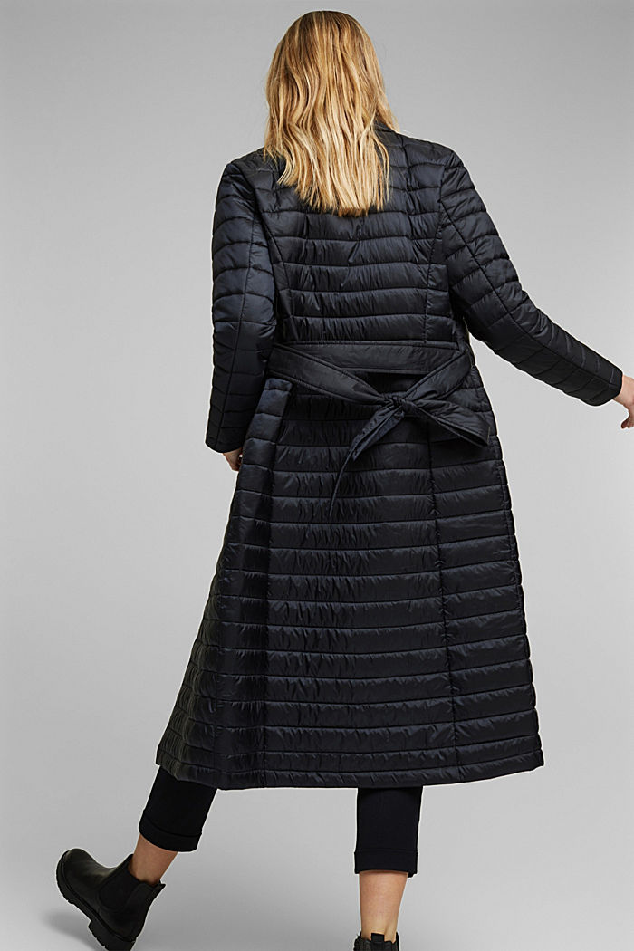 Recycled: Quilted coat with tie-around belt, BLACK, detail image number 5