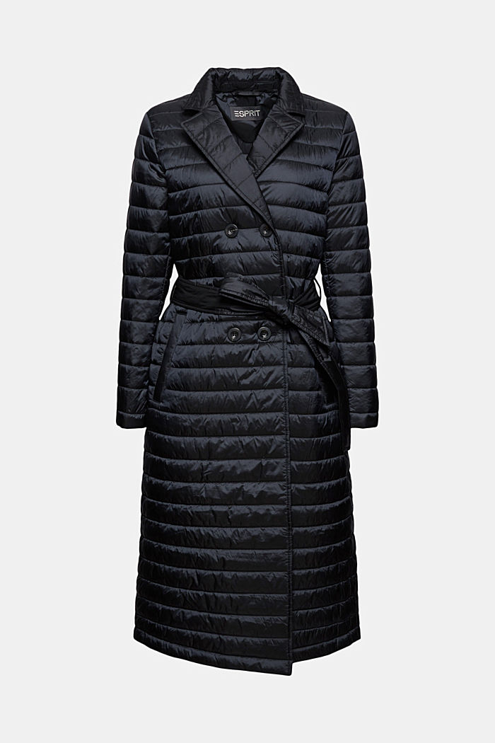 Recycled: Quilted coat with tie-around belt
