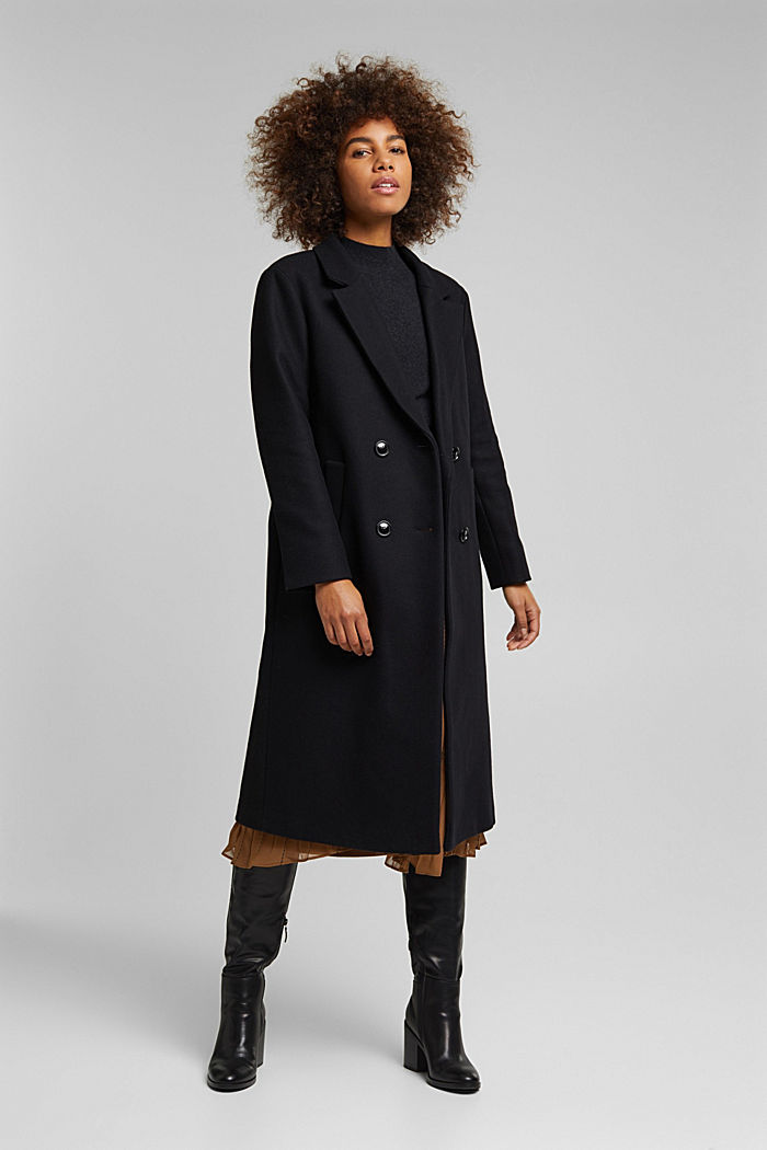 Wool blend: Long blazer coat, BLACK, detail image number 0