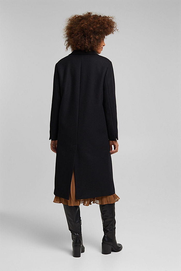 Wool blend: Long blazer coat, BLACK, detail image number 3