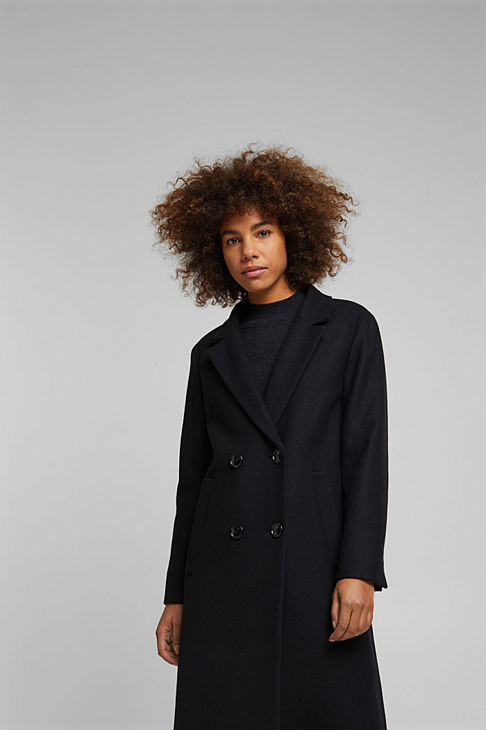 Wool blend: Long blazer coat, BLACK, detail image number 5