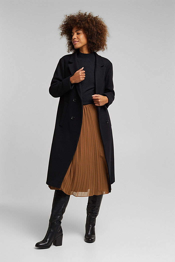Wool blend: Long blazer coat, BLACK, detail image number 1