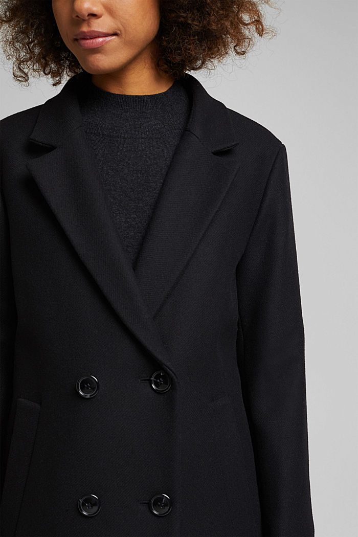 Wool blend: Long blazer coat, BLACK, detail image number 2