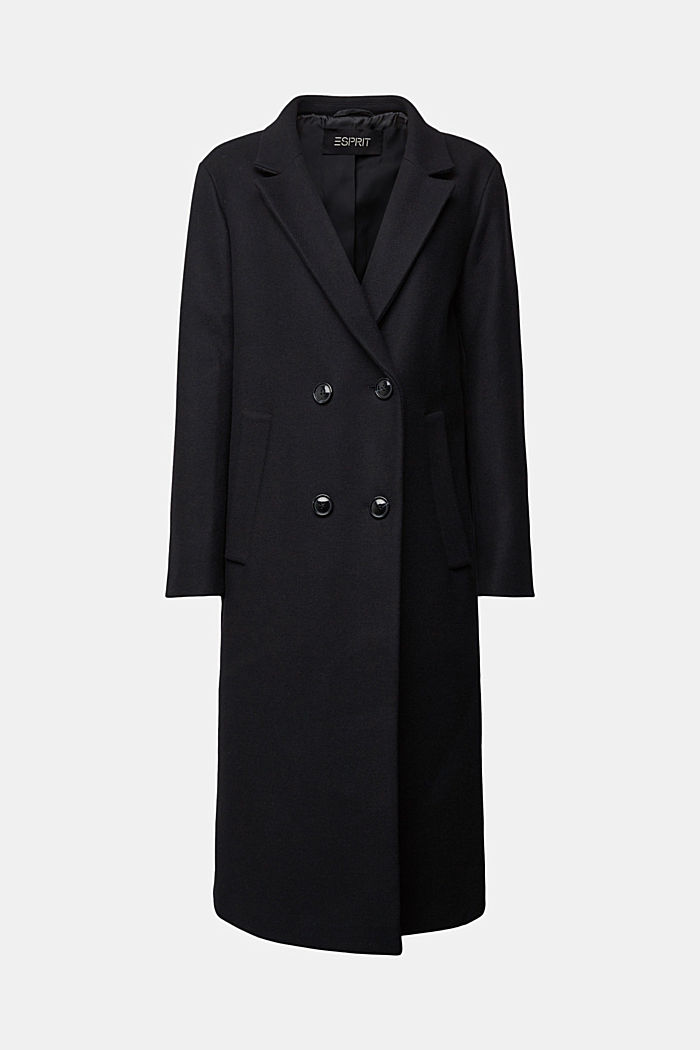 Wool blend: Long blazer coat, BLACK, detail image number 6