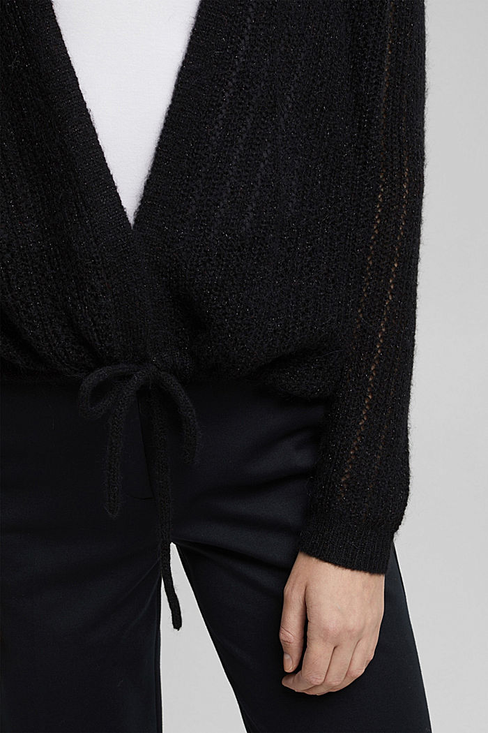 With wool and alpaca: open cardigan, BLACK, detail image number 2