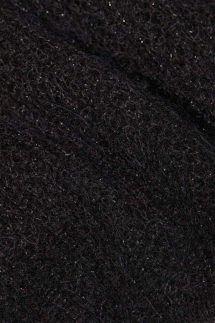 With wool and alpaca: open cardigan, BLACK, detail image number 4