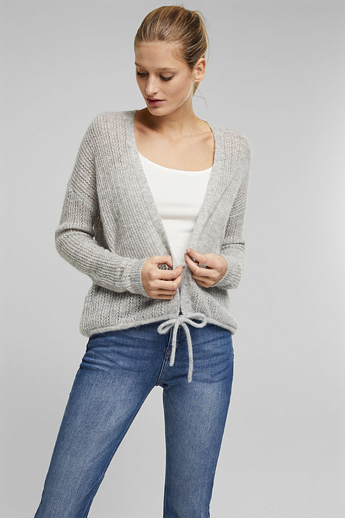With wool and alpaca: open cardigan, LIGHT GREY, detail image number 0