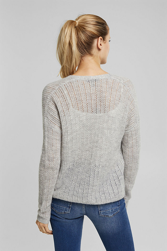 With wool and alpaca: open cardigan, LIGHT GREY, detail image number 3