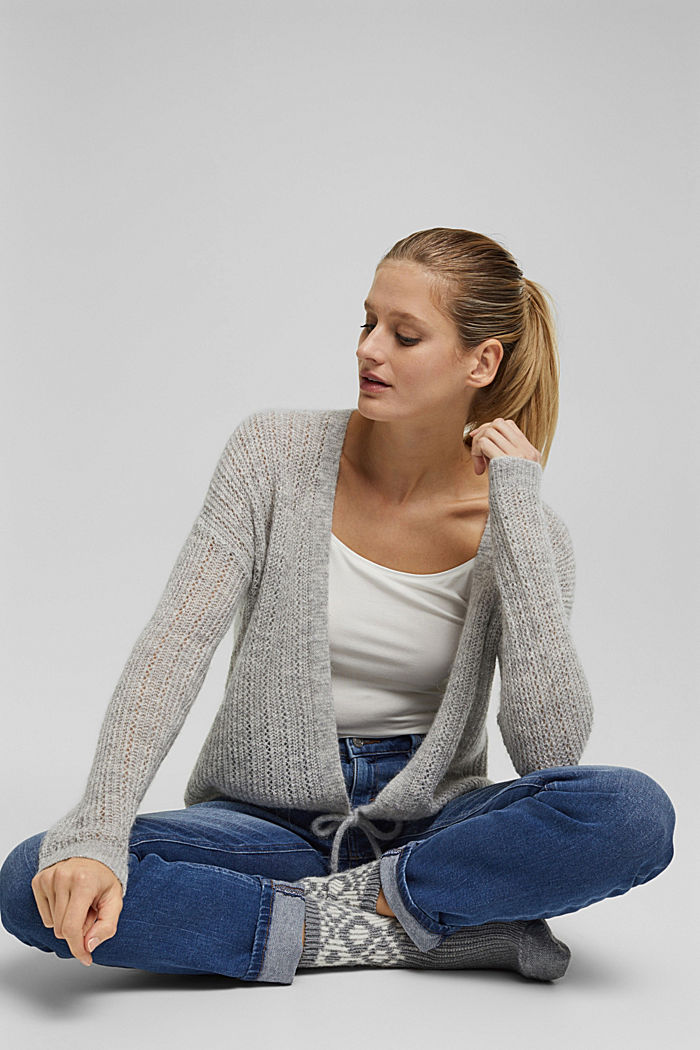 With wool and alpaca: open cardigan, LIGHT GREY, detail image number 5