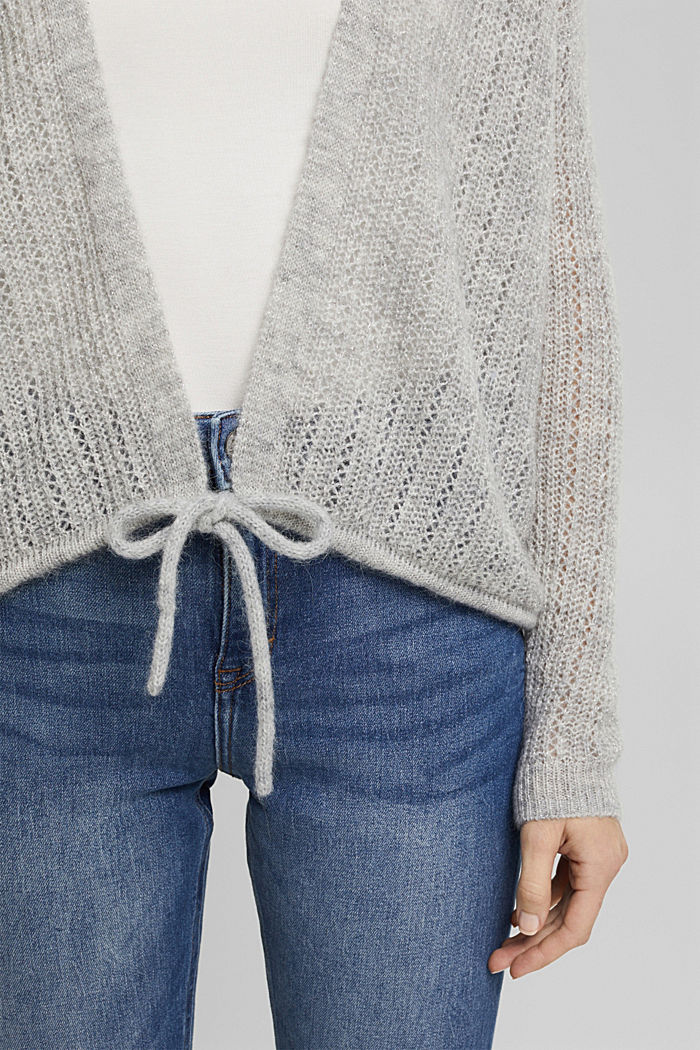 With wool and alpaca: open cardigan, LIGHT GREY, detail image number 2